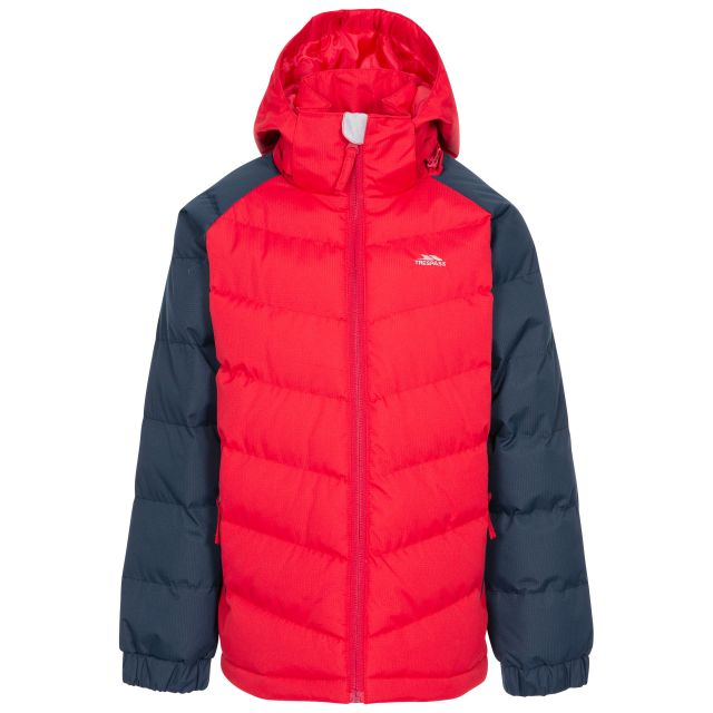 Sidespin Boys Padded Jacket in Red, Front view on mannequin