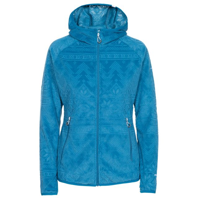 Snowbelle Women's Fleece in Blue, Front view on mannequin