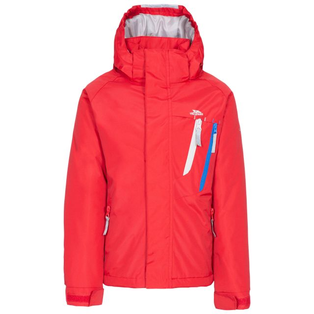 Specific Kids' Padded Waterproof Jacket in Red, Front view on mannequin