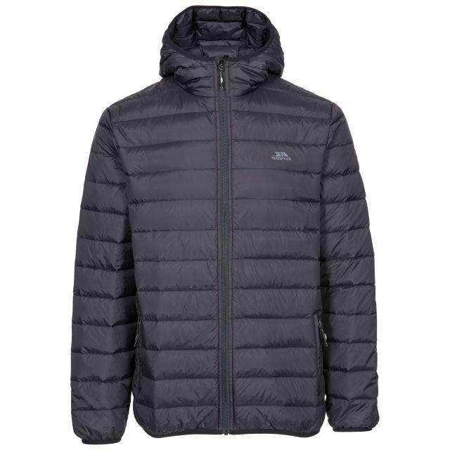 Stanley Men's Ultra Lightweight Packaway Down Jacket in Black, Front view on mannequin
