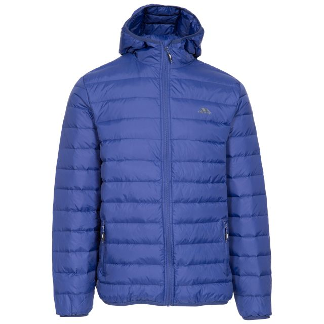 Stanley Men's Ultra Lightweight Packaway Down Jacket in Blue, Front view on mannequin