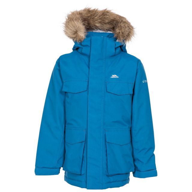 Starrie Kids Padded Waterproof Parka Jacket in Blue, Front view on mannequin
