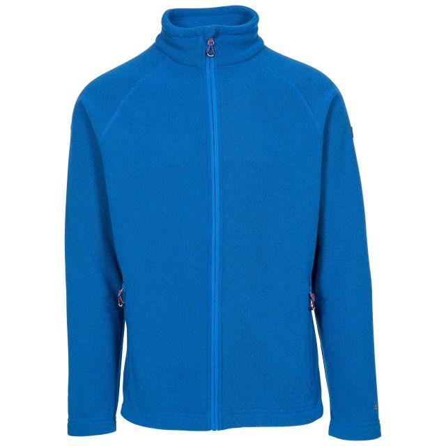 Trespass Adults Fleece Jacket Full Zip 2 Pockets Steadburn Blue, Front view on mannequin