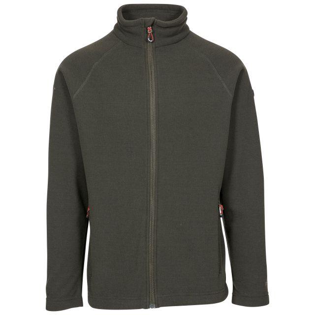 Trespass Adults Fleece Jacket Full Zip 2 Pockets Steadburn Olive, Front view on mannequin