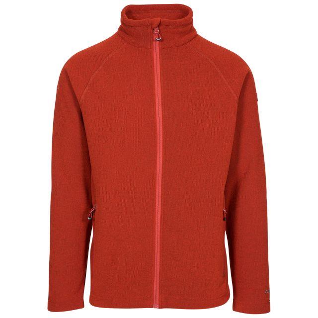 Trespass Adults Fleece Jacket Full Zip 2 Pockets Steadburn Red, Front view on mannequin