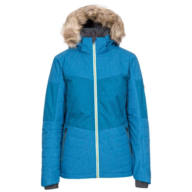 Tiffany Women's Ski Jacket in Cosmic Blue, Front view on mannequin