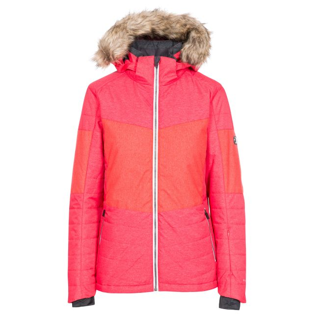 Tiffany Women's Ski Jacket in Hibiscus, Front view on mannequin