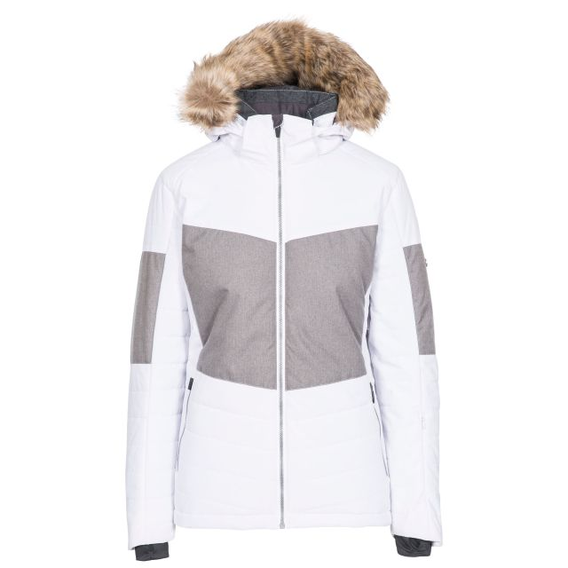 Tiffany Women's Ski Jacket in White, Front view on mannequin