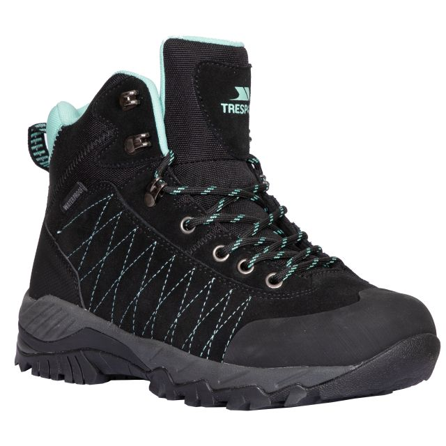 Torri Women's Waterproof Walking Boots in Black, Angled view of footwear