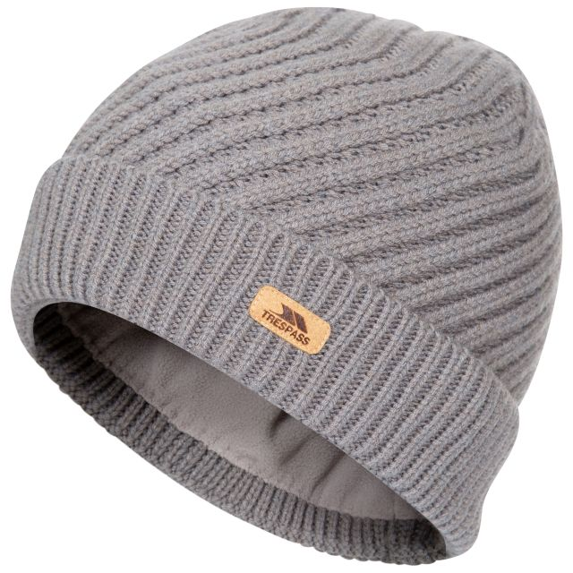 Twisted Women's Knitted Beanie in Grey, Hat at angled view
