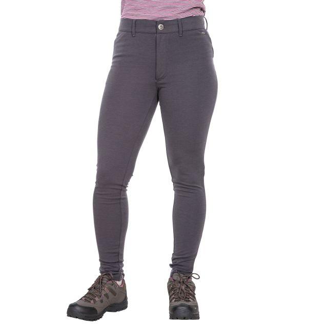 Vanessa Womens Water Resistant Walking Leggings in Dark Grey, Front view on model