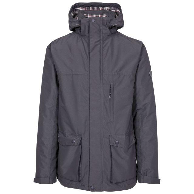 Vauxelly Men's Padded Waterproof Jacket in Dark Grey, Front view on mannequin