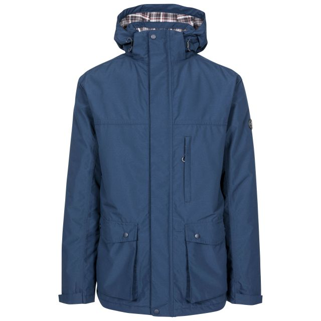 Vauxelly Men's Padded Waterproof Jacket in Navy, Front view on mannequin
