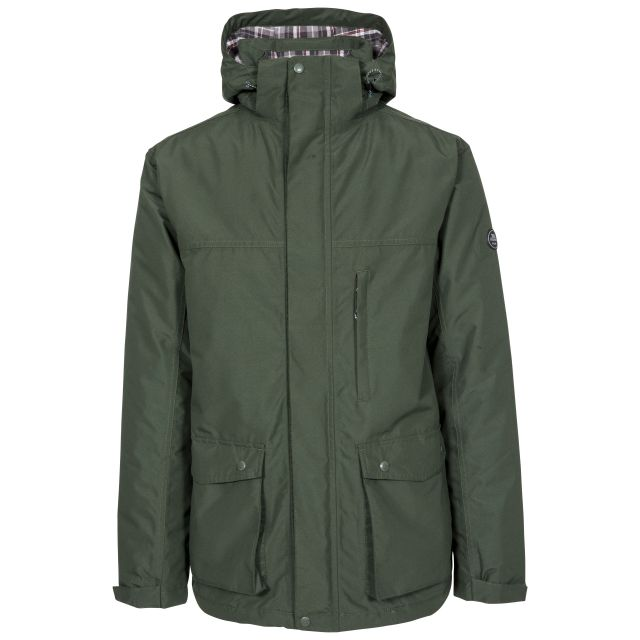 Vauxelly Men's Padded Waterproof Jacket in Olive, Front view on mannequin