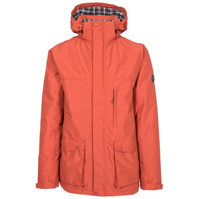 Vauxelly Men's Padded Waterproof Jacket in Spice, Front view on mannequin