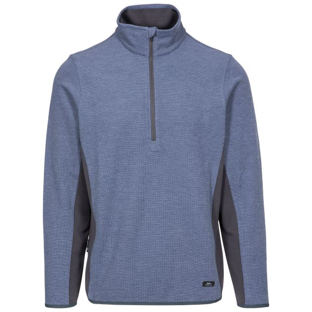 Wotterham Men's Half Zip Knitted Top in Blue, Front view on mannequin