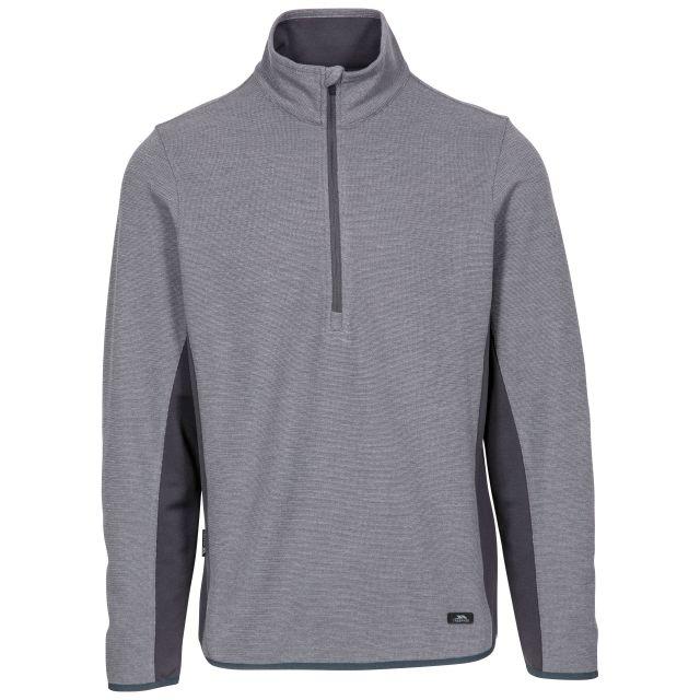 Wotterham Men's Half Zip Knitted Top in Grey, Front view on mannequin