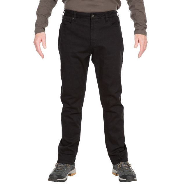 Trespass Mens Walking Trousers with Pockets Yockenwaite Black, Front view on mannequin