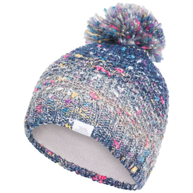 Zabella Adults Knitted Beanie in Blue, Hat at angled view