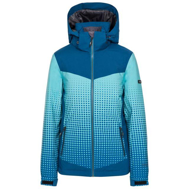 Zenya Women's Waterproof Ski Jacket in Cosmic Blue, Front view on mannequin