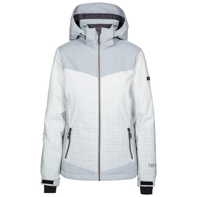 Zenya Women's Waterproof Ski Jacket in Grey, Front view on mannequin
