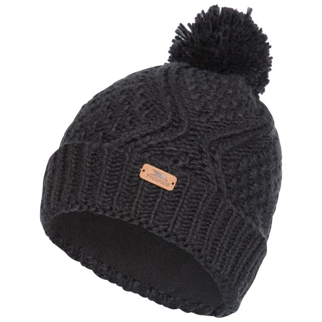 Zyra Adults Knitted Beanie and Slouch Hat in Black, Hat at angled view