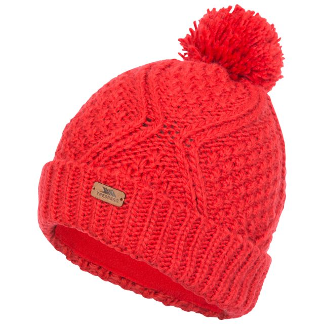 Zyra Adults Knitted Beanie and Slouch Hat in Red, Front view of hat