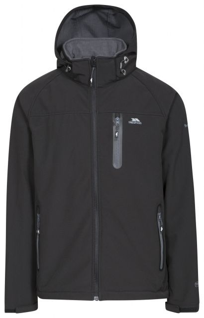 Accelerator II Men's Hooded Softshell Jacket in Black, Front view on mannequin