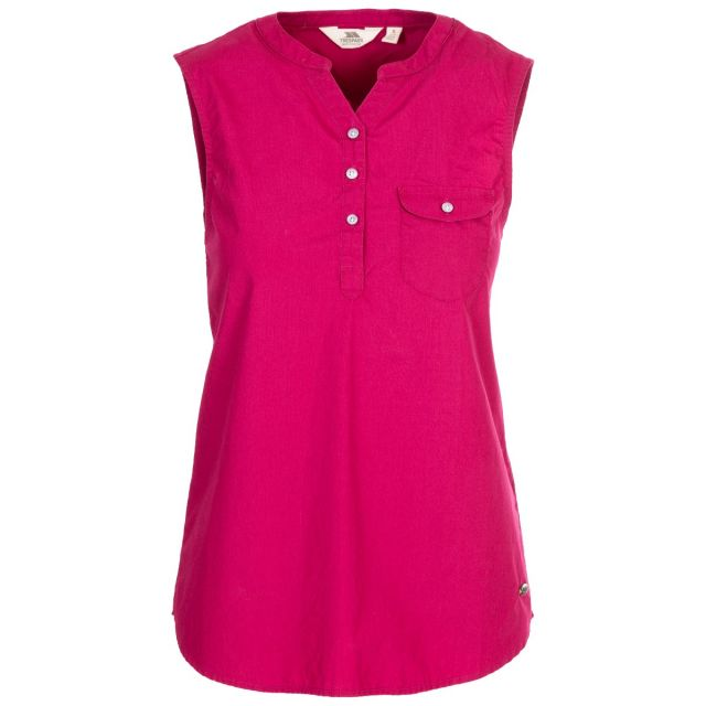 Adora Women's Sleeveless T-Shirt in Red, Front view on mannequin