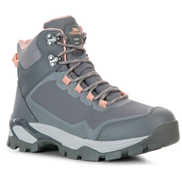 Trespass Womens Walking Boots Waterproof Breathable Ailish in Grey, Angled view of footwear