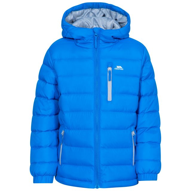 Aksel Kids' Padded Casual Jacket in Blue, Front view on mannequin