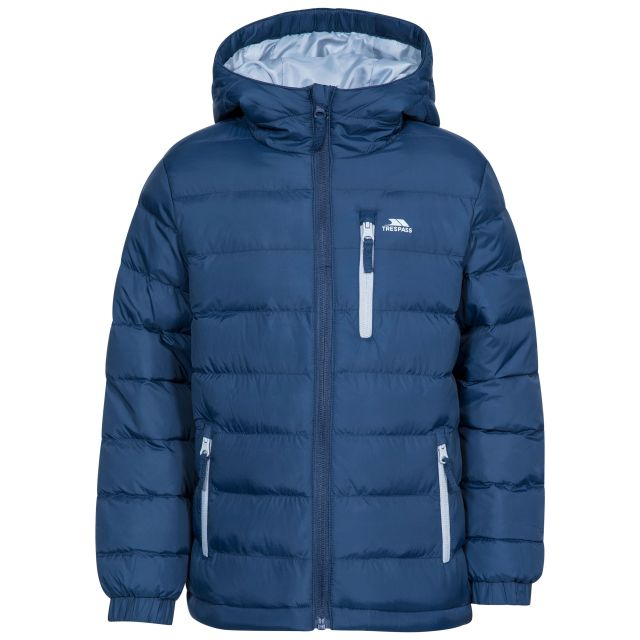 Aksel Kids' Padded Casual Jacket in Navy, Front view on mannequin