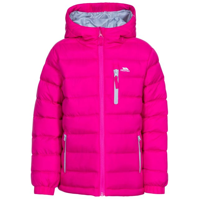 Aksel Kids' Padded Casual Jacket in Pink, Front view on mannequin