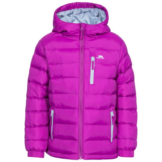 Aksel Kids' Padded Casual Jacket in Purple, Front view on mannequin