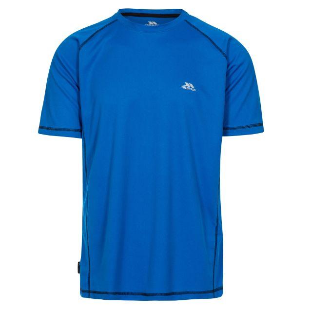 Albert Men's Quick Dry Active T-Shirt in Blue, Front view on mannequin