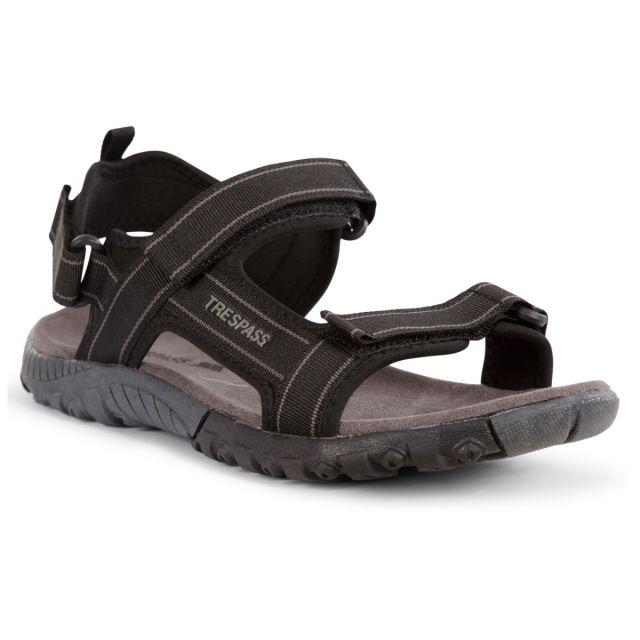 Alderley Men's Walking Sandals in Black, Angled view of footwear