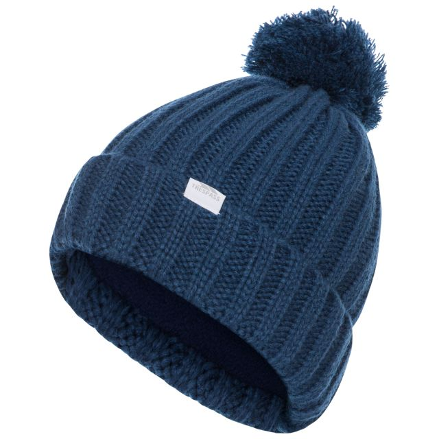 Alisha Women's Knitted Bobble Hat in Blue, Hat at angled view
