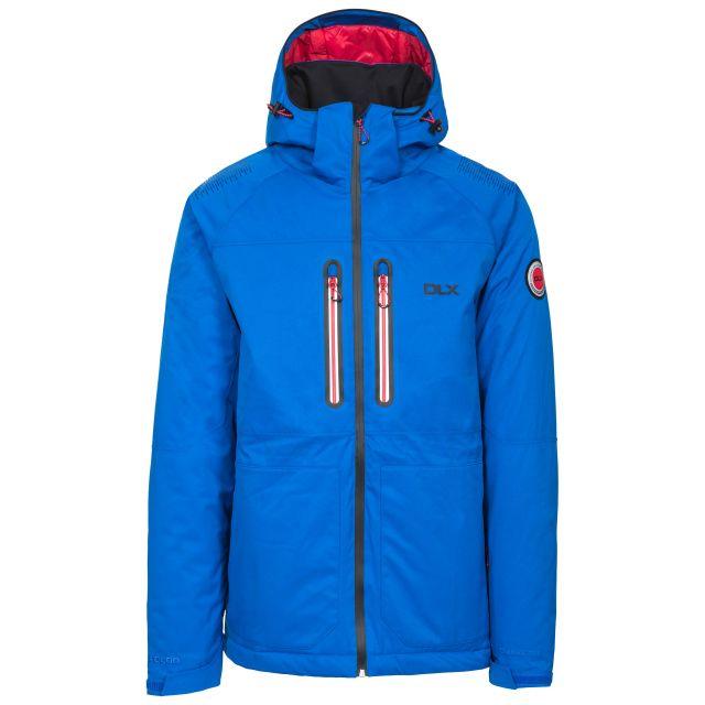 Allen Men's DLX RECCO Waterproof Ski Jacket in Blue, Front view on mannequin