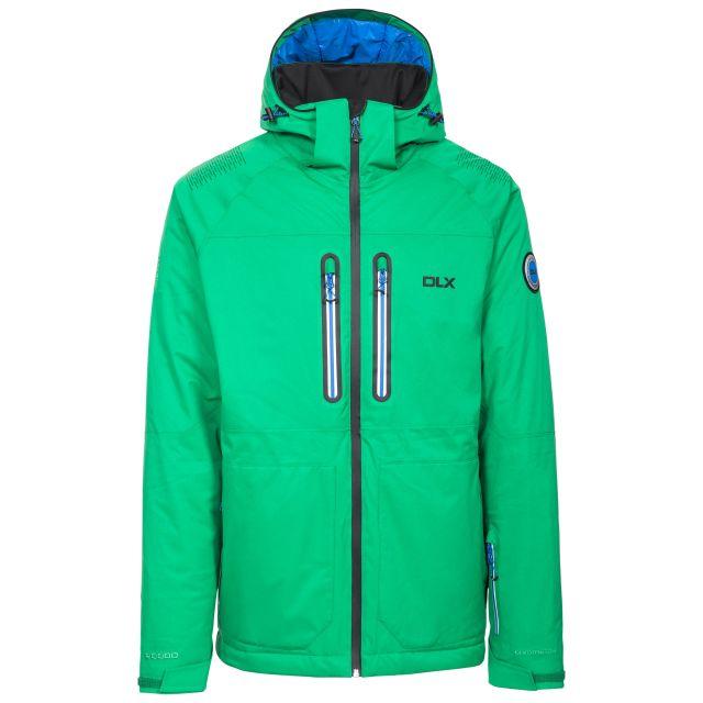 Allen Men's DLX RECCO Waterproof Ski Jacket in Green, Front view on mannequin