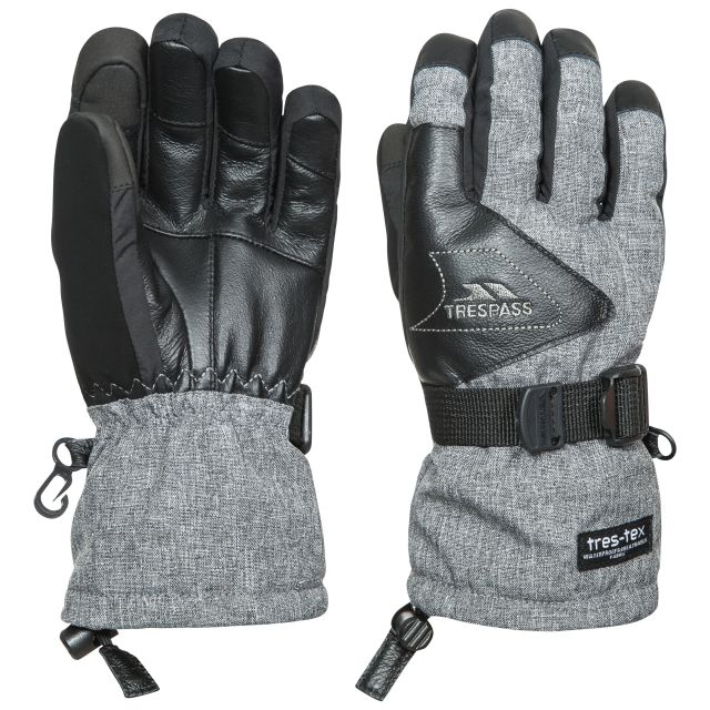 Amari Kids' Touch Screen Ski Gloves in Light Grey, Front view