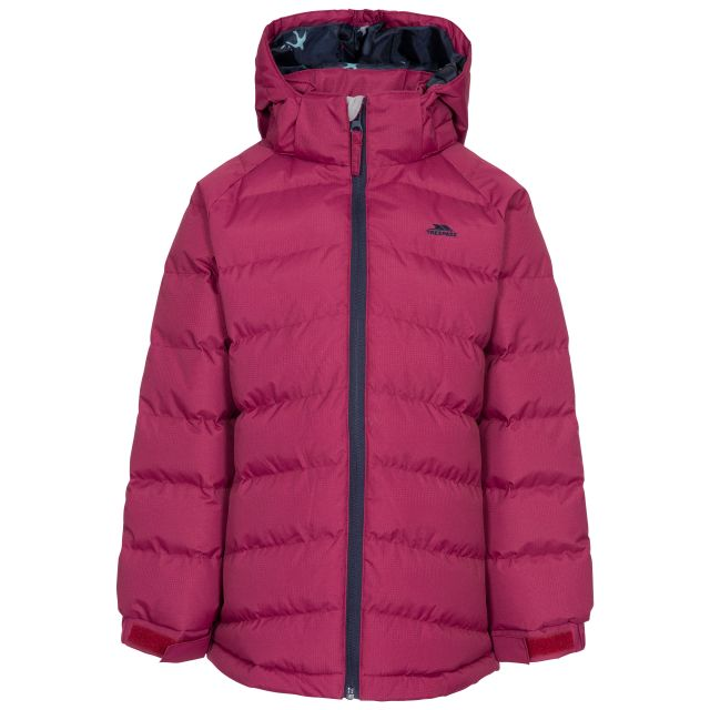 Amira Kids' Padded Casual Jacket in Red, Front view on mannequin