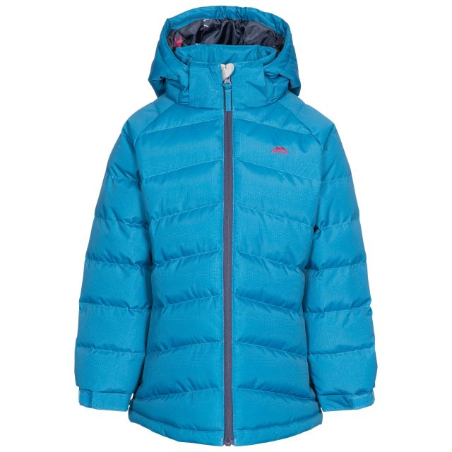 Amira Kids' Padded Casual Jacket in Blue, Front view on mannequin