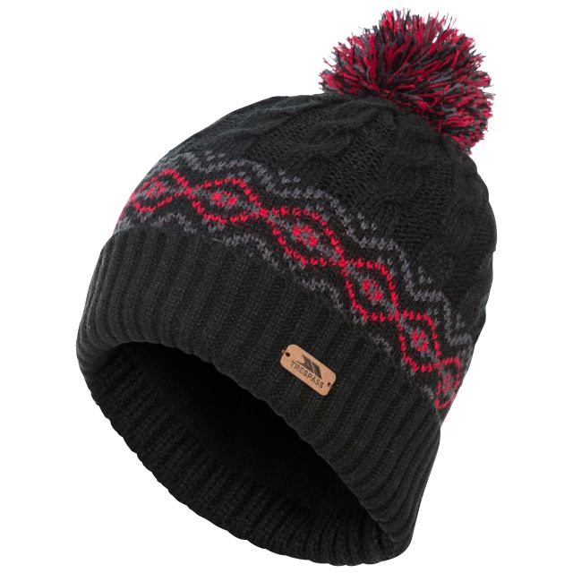 Andrews Men's Fleece Lined Bobble Hat in Black, Hat at angled view