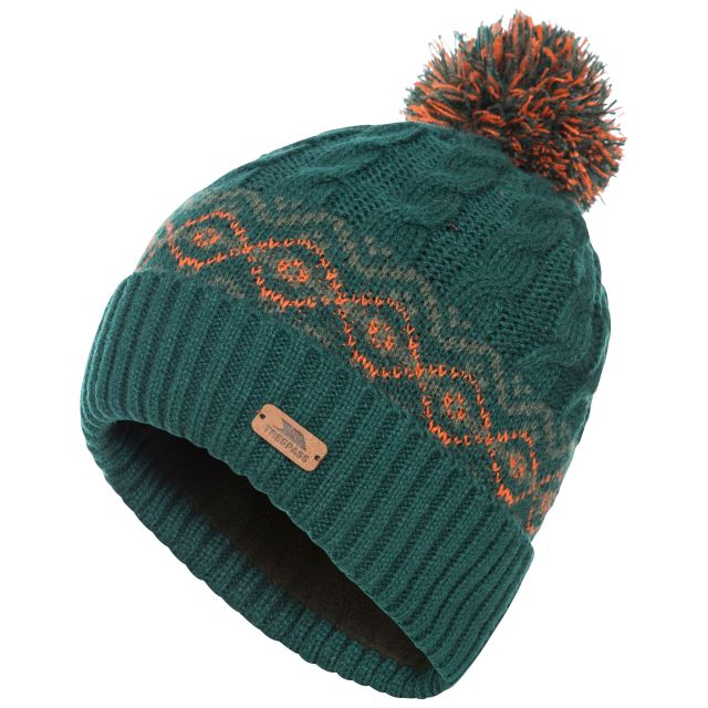 Andrews Men's Fleece Lined Bobble Hat in Green, Hat at angled view