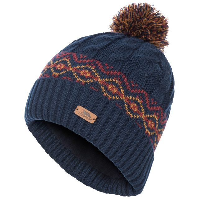Andrews Men's Fleece Lined Bobble Hat in Navy, Hat at angled view