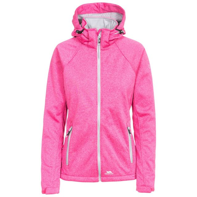 Trespass Womens Softshell Jacket Windproof Angela in Pink, Front view on mannequin