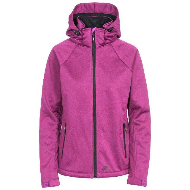 Trespass Womens Softshell Jacket Windproof Angela in Purple, Front view on mannequin