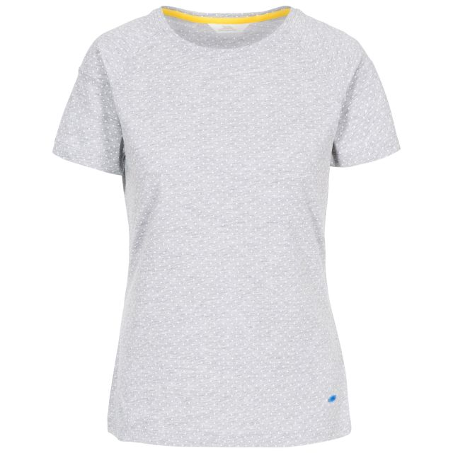 Ani Women's Printed T-Shirt in Grey, Front view on mannequin