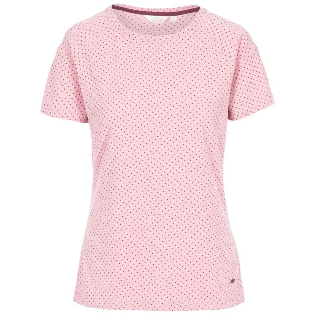 Ani Women's Printed T-Shirt in Light Purple, Front view on mannequin