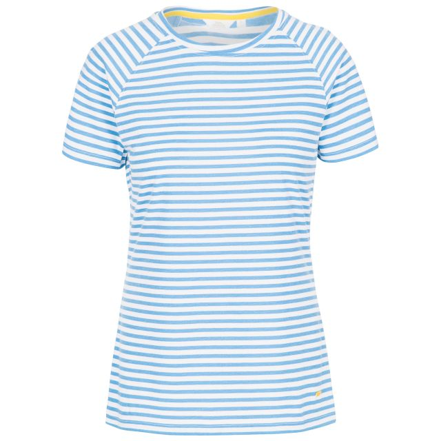 Ani Women's Printed T-Shirt in Light Blue, Front view on mannequin
